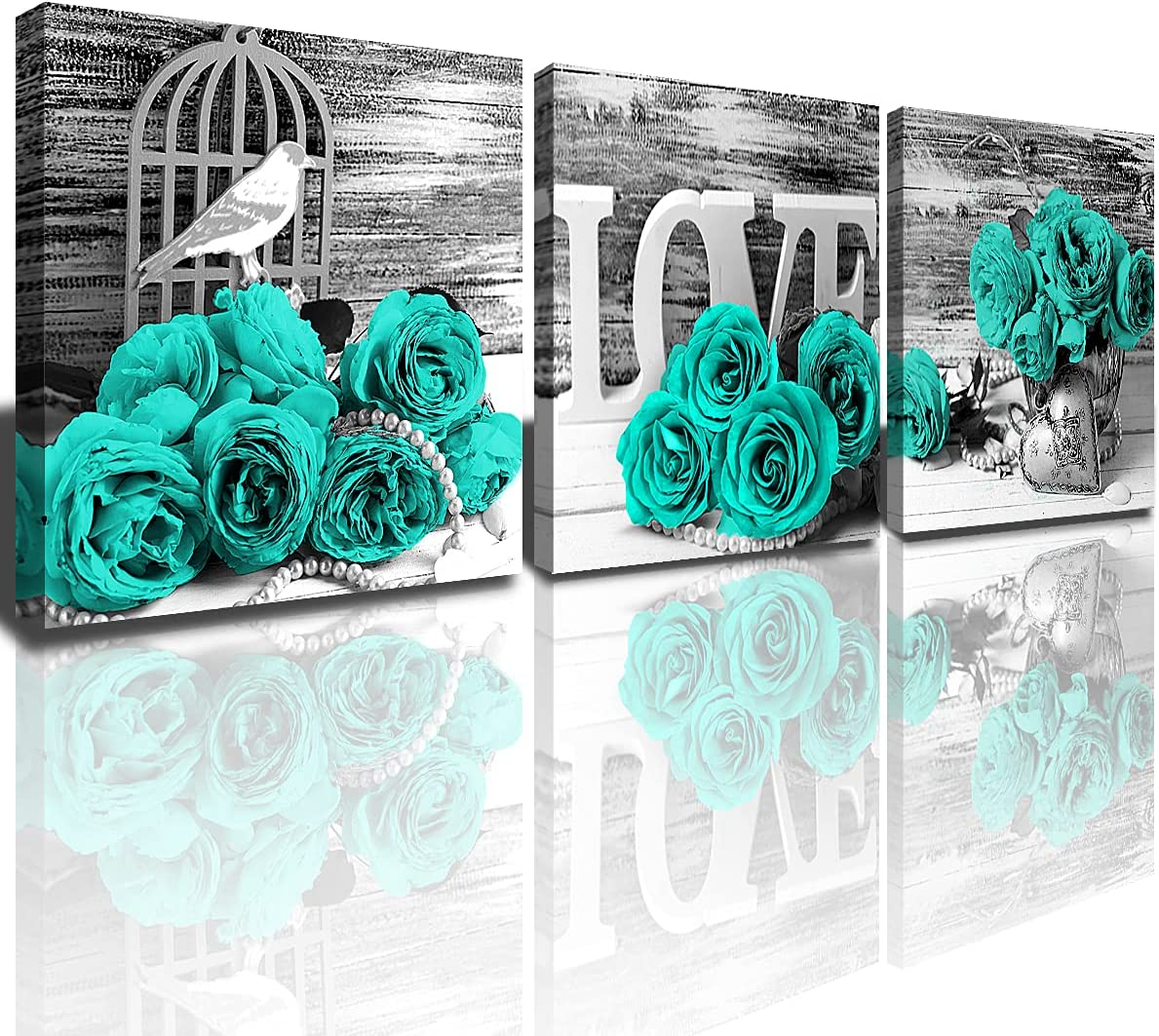 Amazon Com Bedroom Wall Decor Turquoise House Bathroom Canvas Prints Art Painting For Living Room 3 Pcs Sets Teal Rose Pictures Black And White Flower Kitchen Accessories Home Decoration 12x12 Everything