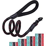 VIVAGLORY Heavy Duty 4ft Rope Dog Leash Reflective Traffic Training Leash with Comfortable Padded Handle for Medium Large Dog