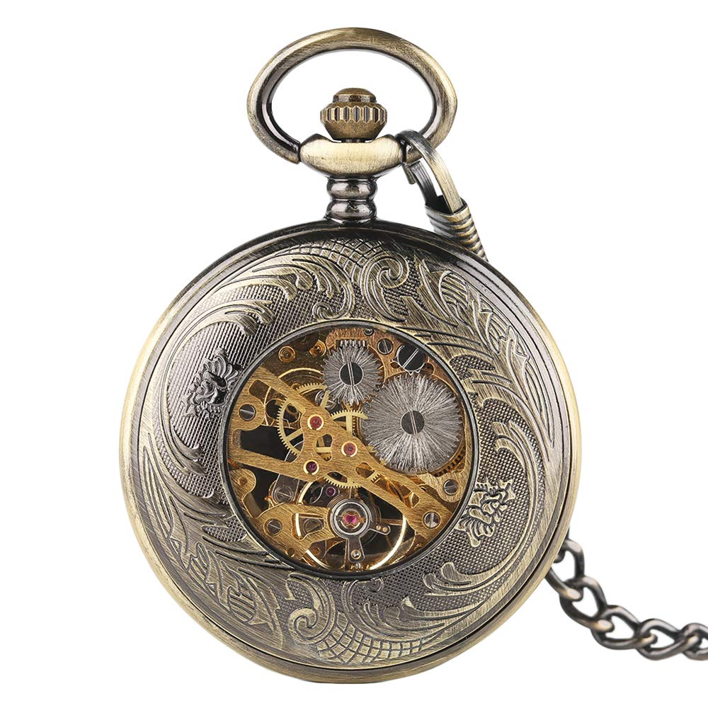 Creative Pocket Watch, Mechanical Hand Winding Pocket Watch, Gifts for Men Women by mygardens (Image #3)