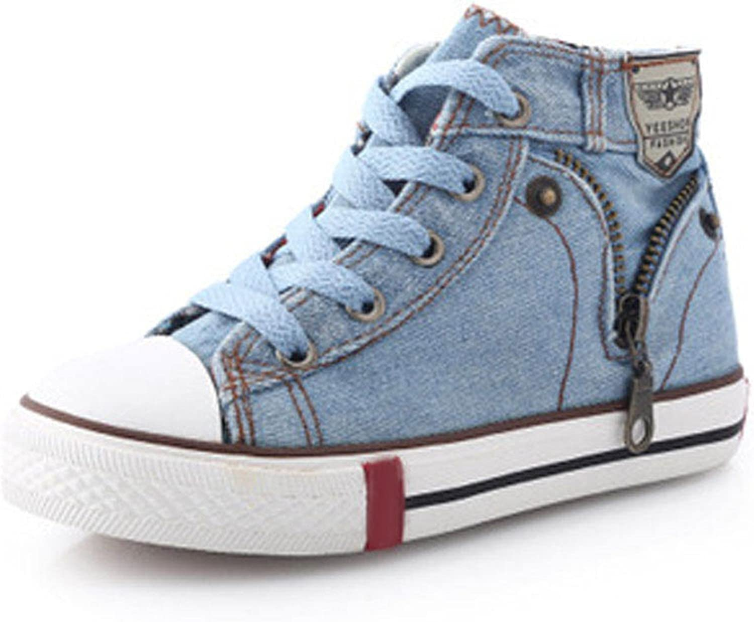 Size25~37 Children Shoes Kids Canvas Sneakers for Boys Girls Denim Jeans Girl Boots Flats CSH245