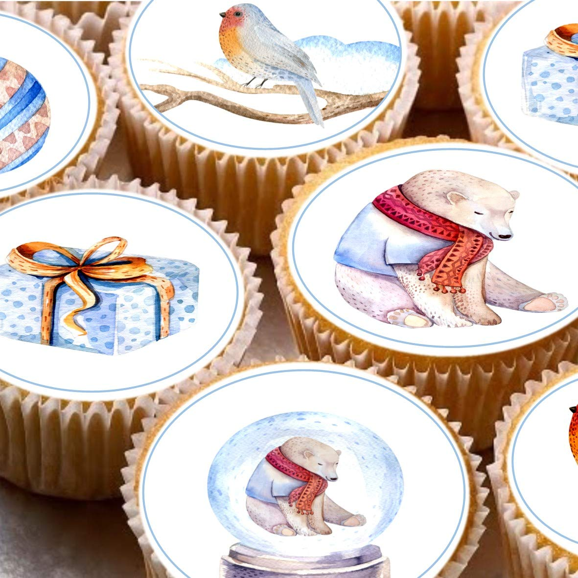 Print4you 24 Cake Toppers 4cm On Icing cupcake images - Magical Polar Bear Xmas Christmas Robin images