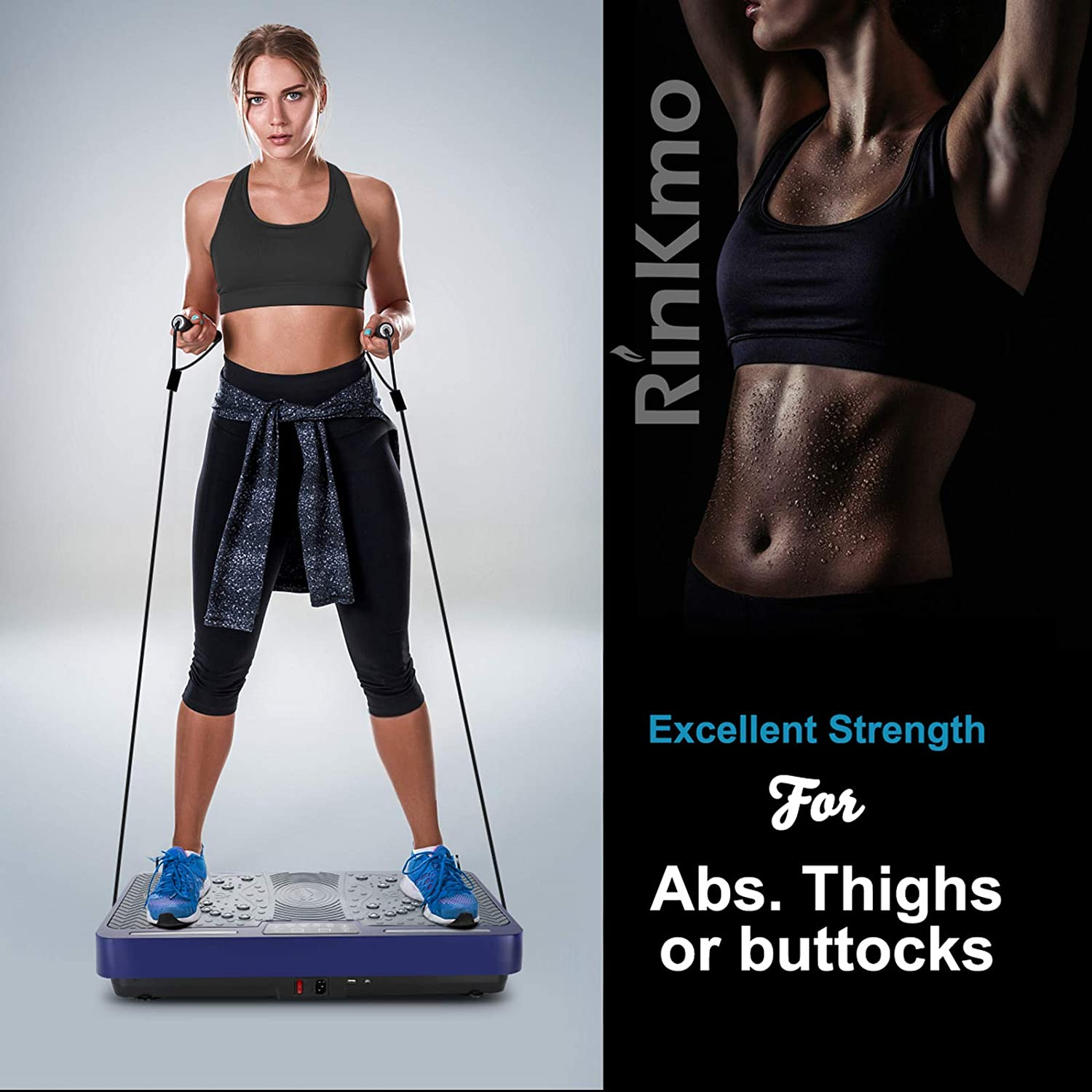 RINKMO Vibration Plate Exercise Machine Home Training Equipment for Weight Loss /& Toning