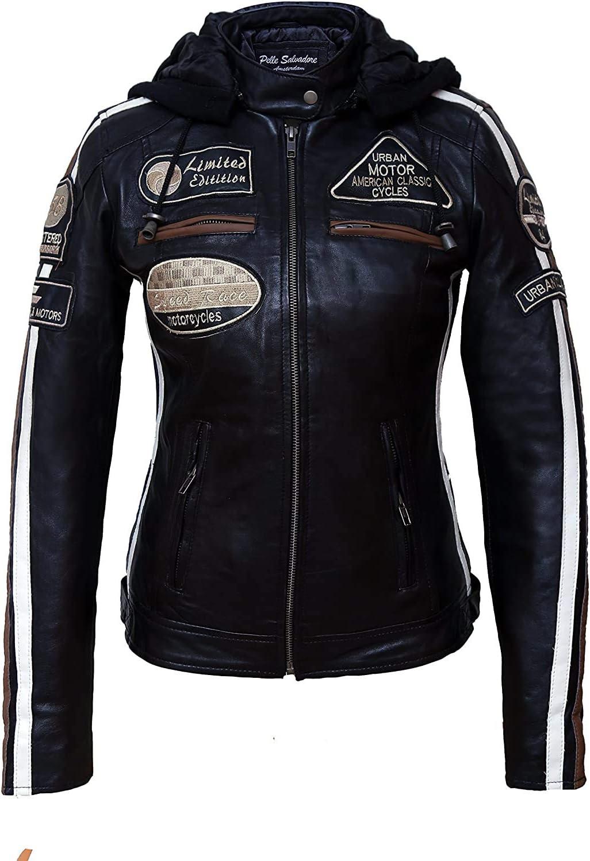 Chaqueta Moto Mujer de Cuero Urban Leather '58 LADIES' | Chaqueta Cuero Mujer | Cazadora Moto de Piel de Cordero | Armadura Removible para Espalda, Hombros y Codos Aprobada por la CE |Negro | 2XL