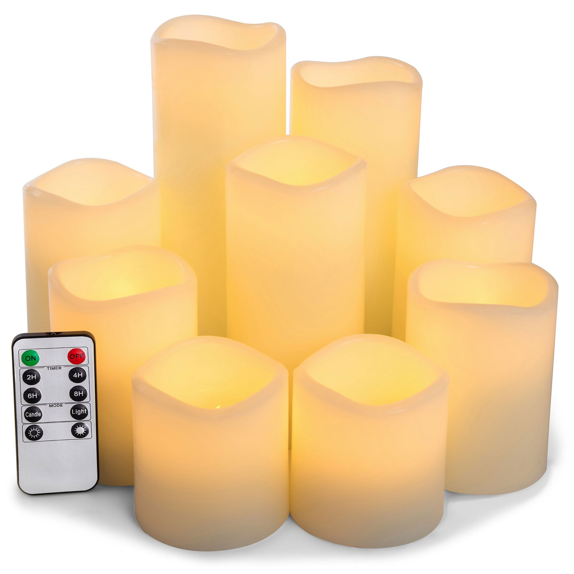 RY King Set of 9 Large Pillar Real Wax Flameless LED Battery Operated Flickering Electric Candles with Timer and 10-key Remote Control by RY