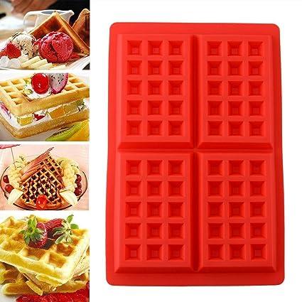 4 Mini stampi da cucina Soledi in silicone resistente per waffles e ...