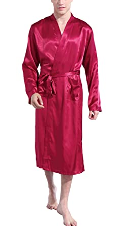 FAYBOX BRIDAL Men Satin Robe Long Bathrobe Lightweight Dressing Gowns