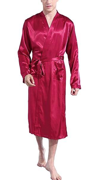 b3fbe23f21 Panegy Men s Short Kimono Robes Spring Long Sleeve Loungewear Size XL - Red