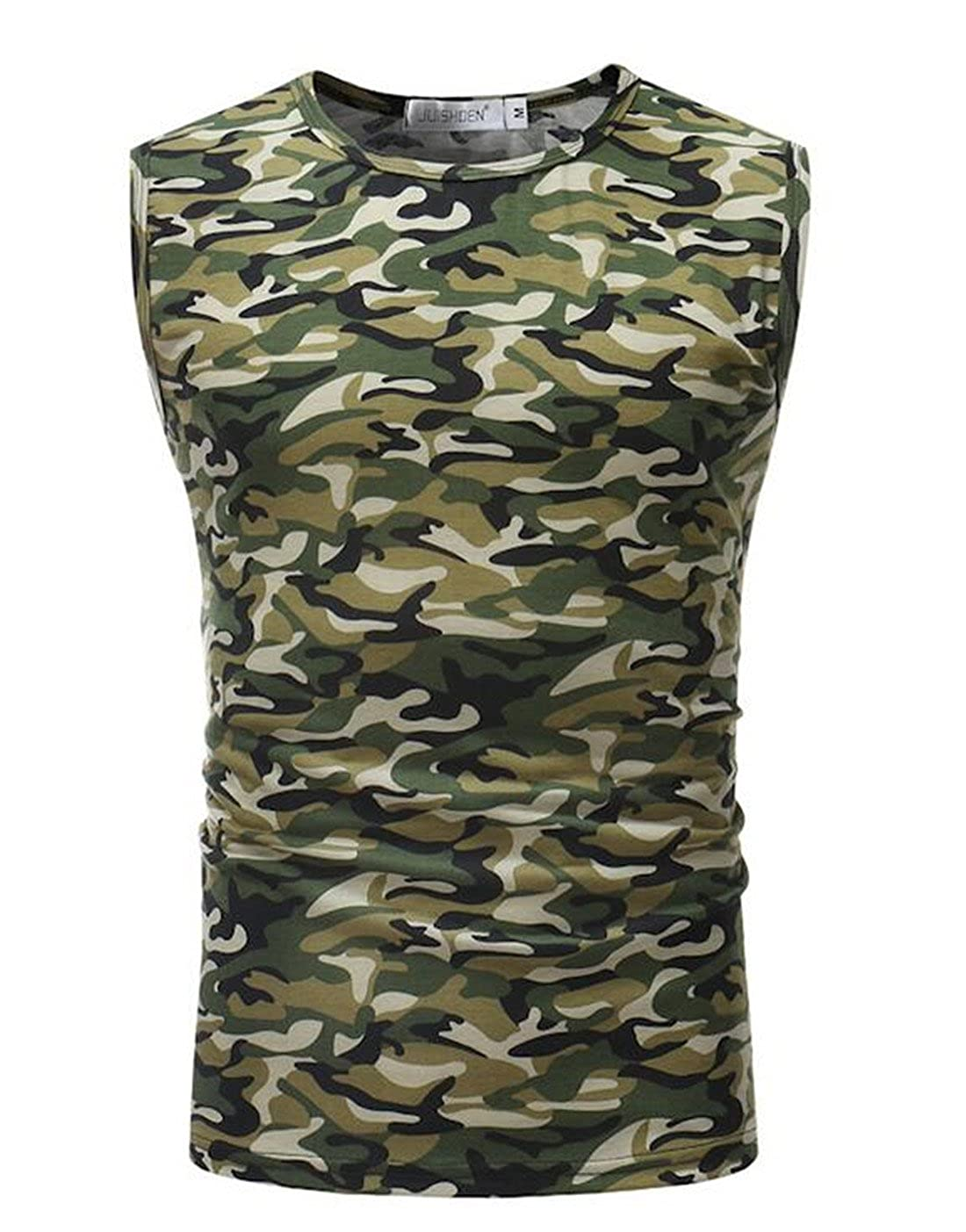 Nanquan Men Crewneck Sleeveless Camouflage Print Sports Slim Tank Top