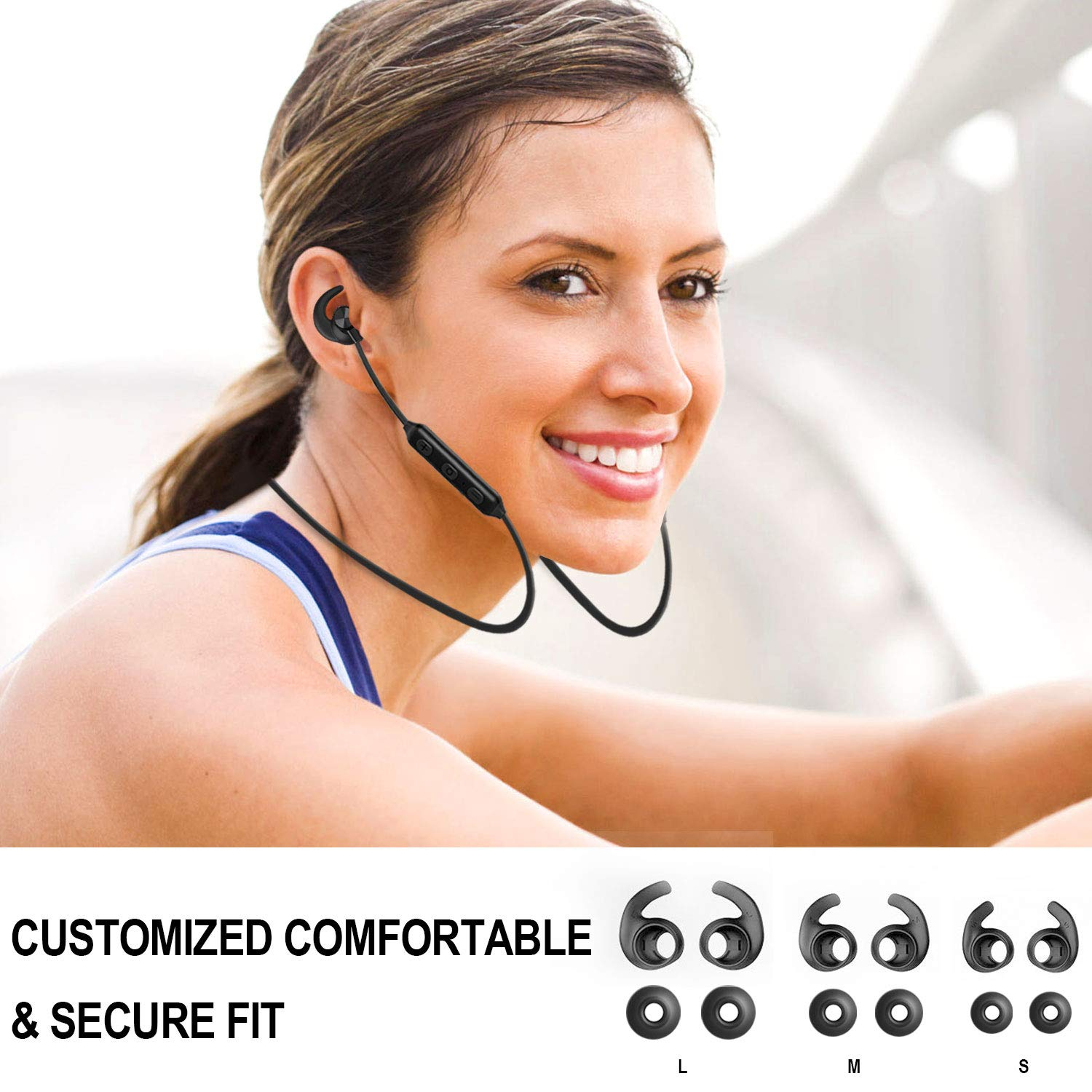 Bluetooth Headphones, Akface Wireless Earbuds Sweatproof Sport Earphones w/Mic Bluetooth 5.0 Fast Pairing HD Stereo Noise Canceling Magnetic in-Ear Headsets for Gym Running Workout Men Women Students by akface (Image #4)