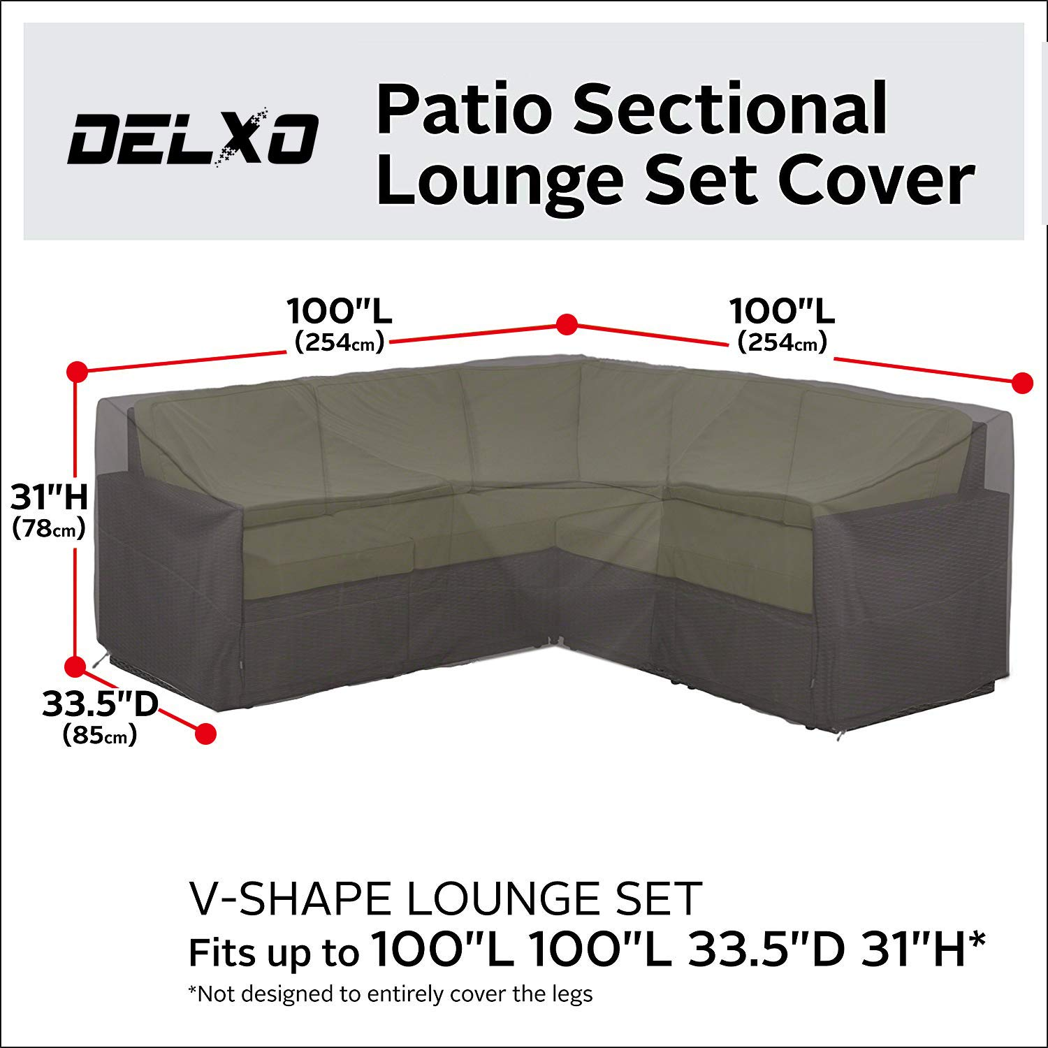 Delxo Ravenna Sectional Sofa Cover Waterproof - 100% UV & Weather Resistant PVC Coated, V-Shaped by Delxo (Image #2)
