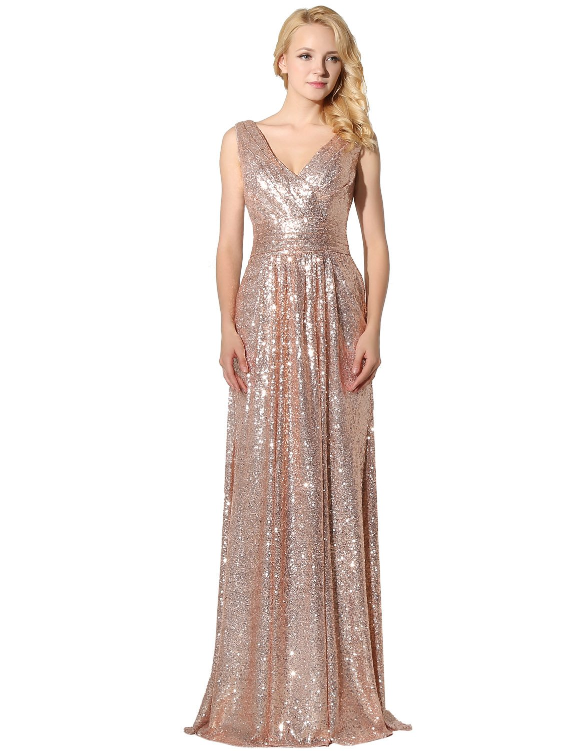 decbf661ef ... Prom Dresses 2018 Ball Gown Long Rose Gold Sequins Bridesmaid Dresses  SD349.   
