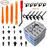 MUKOOL Car Retainer Clips Kit-620Pcs Auto Plastic Fasteners 16 Most Popular Sizes Auto Clips Push Pins Kit with 10 Cable Ties and Plastic Fasteners Remover for Toyota Gm Ford Honda Acura Chrysler (Tamaño: 620PCS Fastener Rivent Clips+Removal Tool Set)