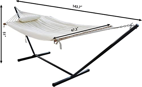 VEIKOU 2 Person Double Hammock with 12 Foot Portable Steel Stand Spreader Bar, Quilted Fabric Bed