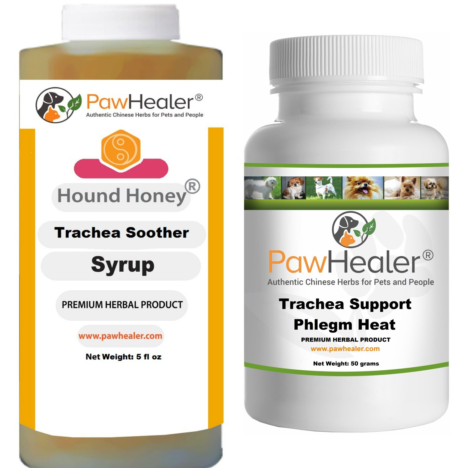 Trachea Soother Syrup Bundle with Trachea Support: Phlegm Heat - Natural Herbal Remedy for Symptoms of Collapsed Trachea for Dogs - Combo of (1 Bottle) 5 fl oz Syrup & (1 Bottle) 50 Grams Powder ... by PawHealer