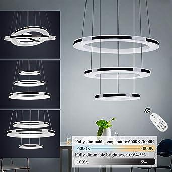 de Araña 3 Luz Colgante Remoto LED Control Techo DIY Pendiente 45W Altura Anillos Ajustable Acrílico Lámpara Brillo Iluminación y de Material Interior 4jq3AcRL5