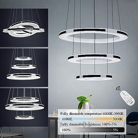 Control LED Ajustable Pendiente y Iluminación DIY Luz Altura de Anillos 45W de Acrílico Interior Remoto Lámpara Brillo Colgante 3 Material Techo Araña ZwiOTPulkX