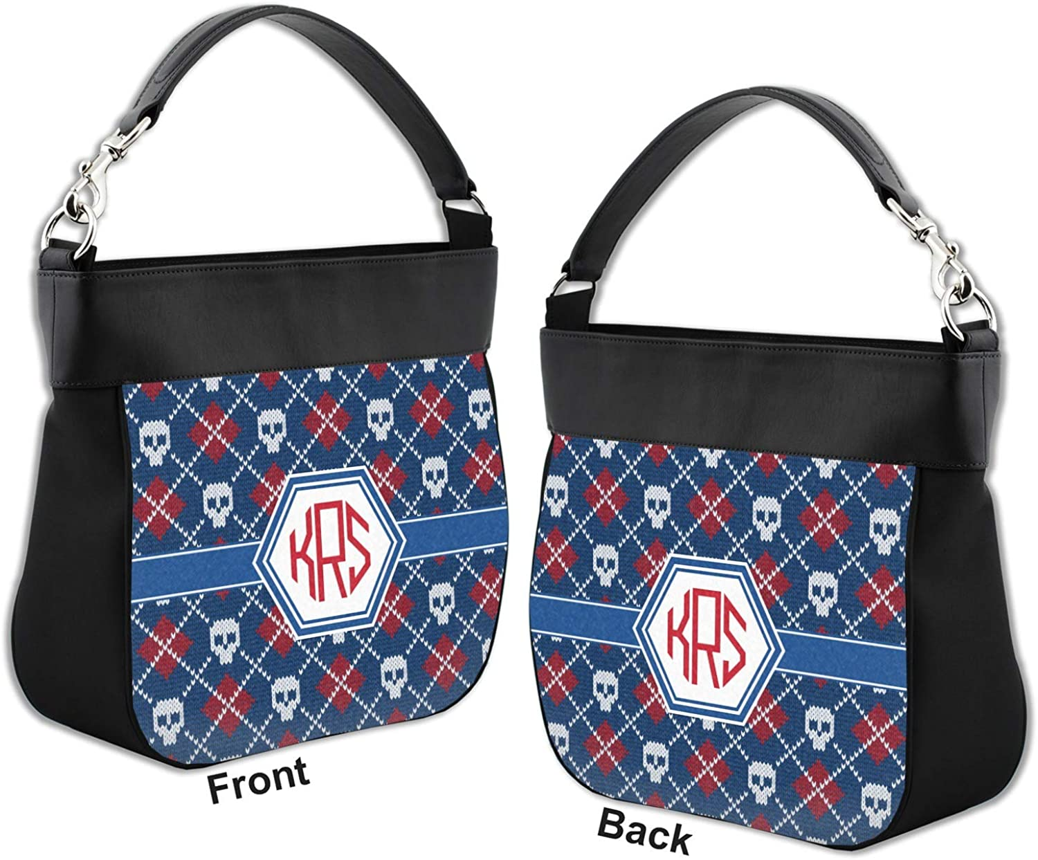 Knitted Argyle /& Skulls Hobo Purse w//Genuine Leather Trim Personalized Front /& Back