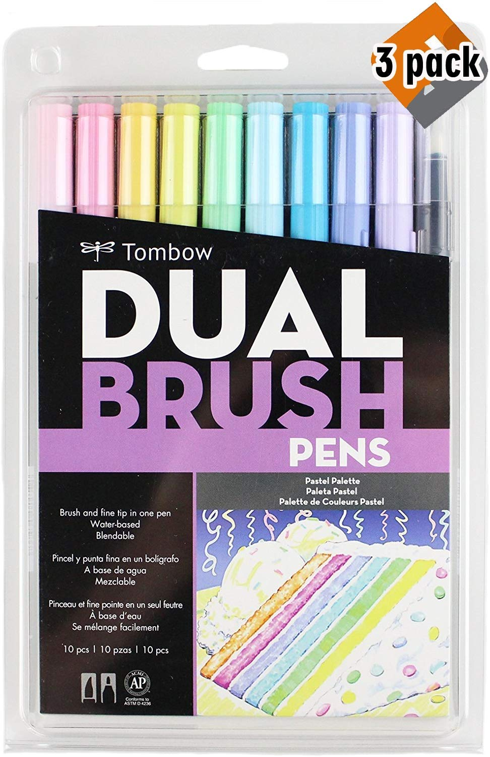 Tombow 56187 Dual Brush Pen Art Markers, Pastel, 10-Pack. Blendable, Brush and Fine Tip Markers - 3 Pack by Tombow