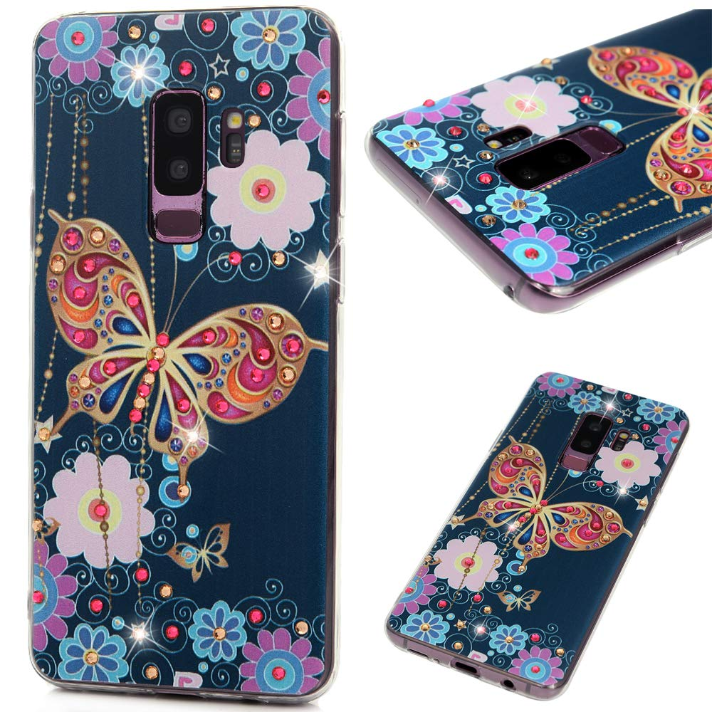 Galaxy S9 Plus Case, Clear TPU Case Kawaii Colorful Painting Bling Shiny Glitter Diamonds Soft Flexible Shockproof TPU Shell Slim Lightweight Bumper Skin Gel Silicone Cover Case for Samsung Galaxy S9+