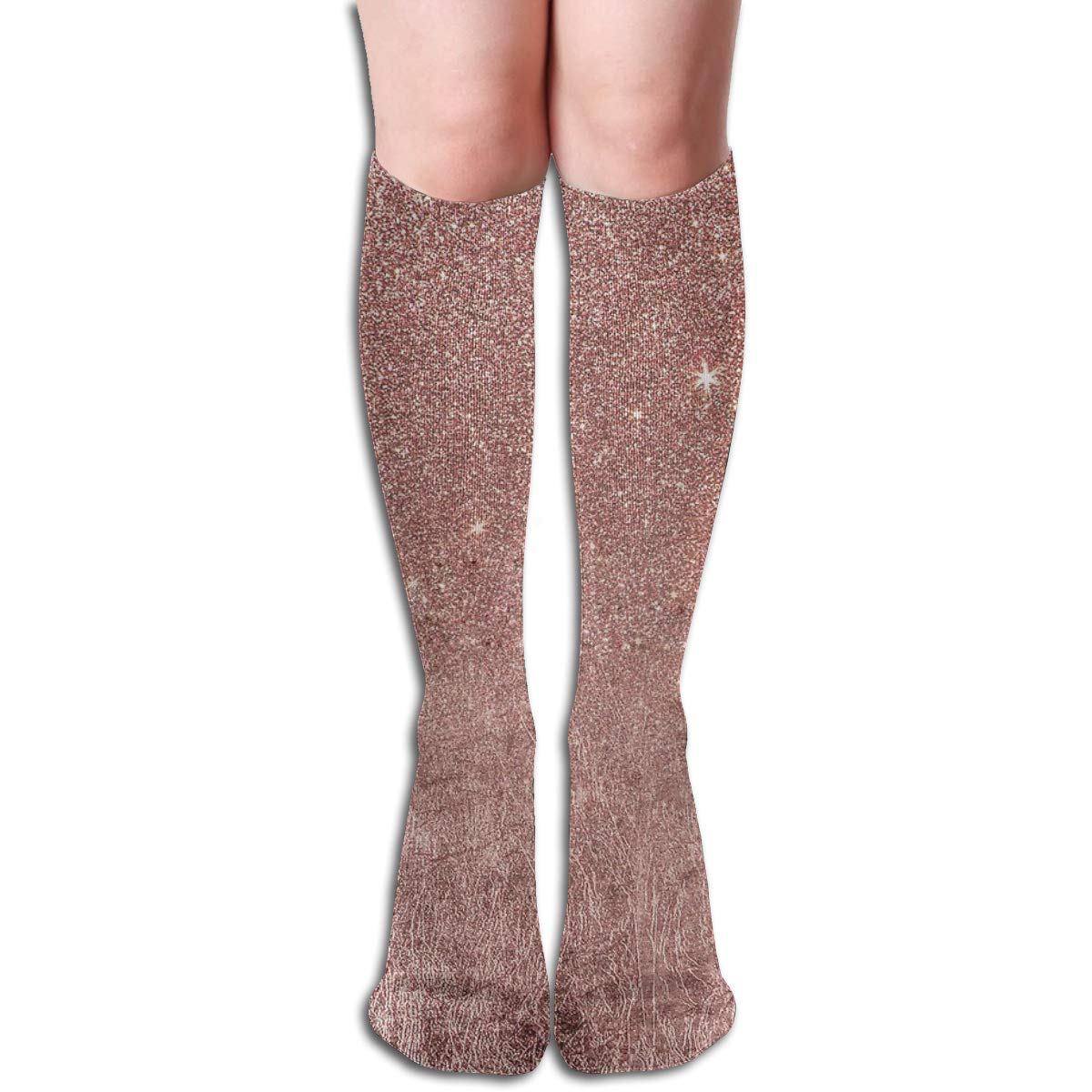 Girly Glam Pink Rose Gold Foil And Glitter Mesh Unisex Compression Socks Athletic Tube Stockings Sport Long Socks One Size