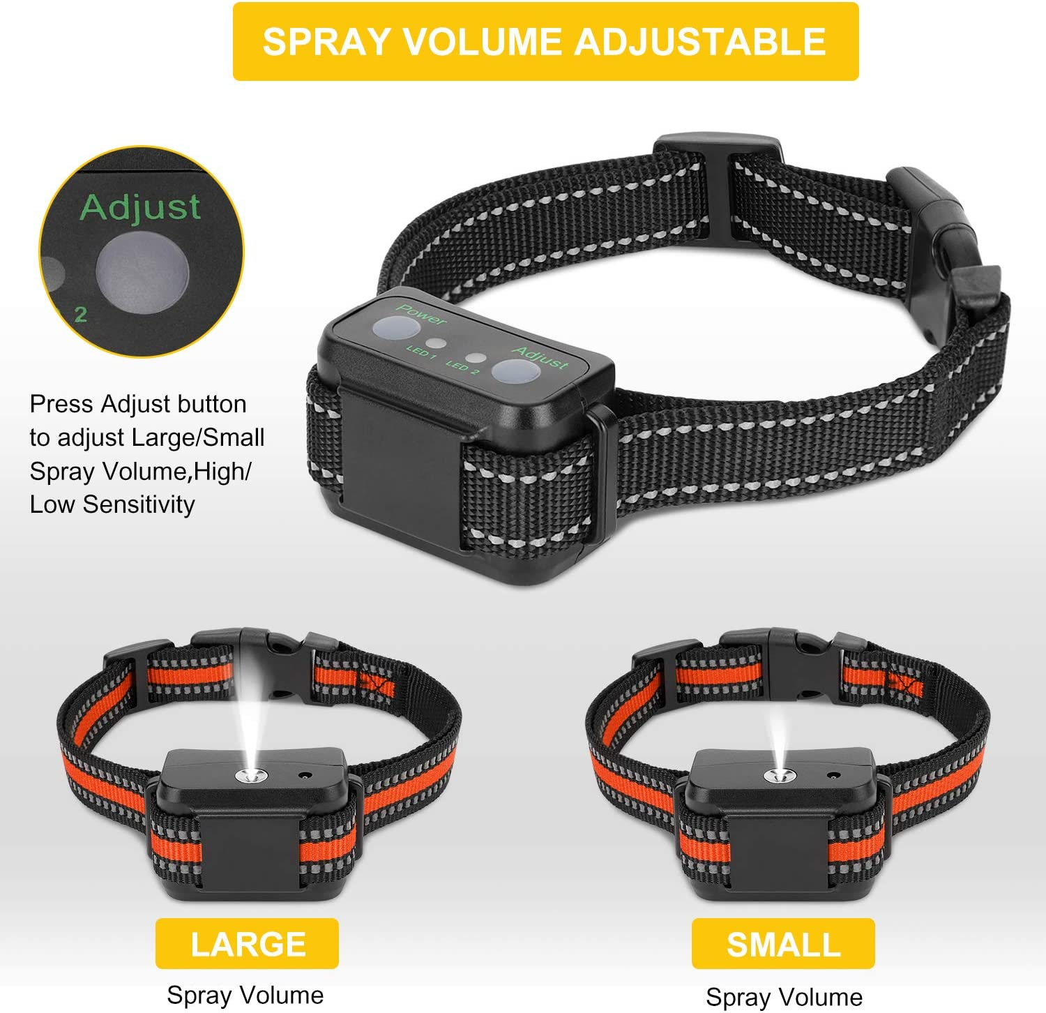 Rechargeable Dog Training Collar with Two Spray and Induction Strength No Shock Dog Spray Collar for Small Medium Large Dogs ESOLOM Shock Collar for Dogs Waterproof