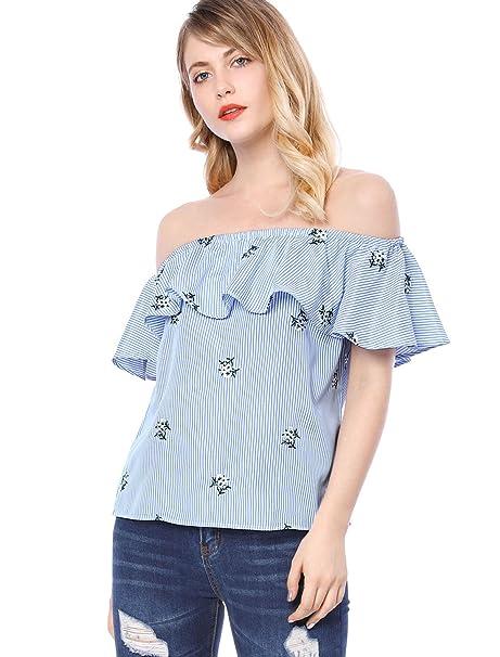 Allegra K Blusa Top para Mujer Bordado Floral A Rayas Fuera del Hombro - Azul/