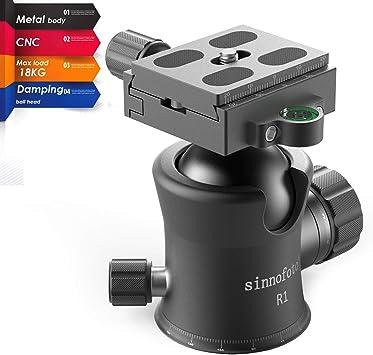 Sinnofoto Q02U Professional Camera Tripod Ball Head With 1//4 Inch Arca Swiss Quick Fast Plate includes Bubble Level Max Loading 33lbs Ballhead for Tripod,Monopod,Slider,DSLR Camera,Camcorder