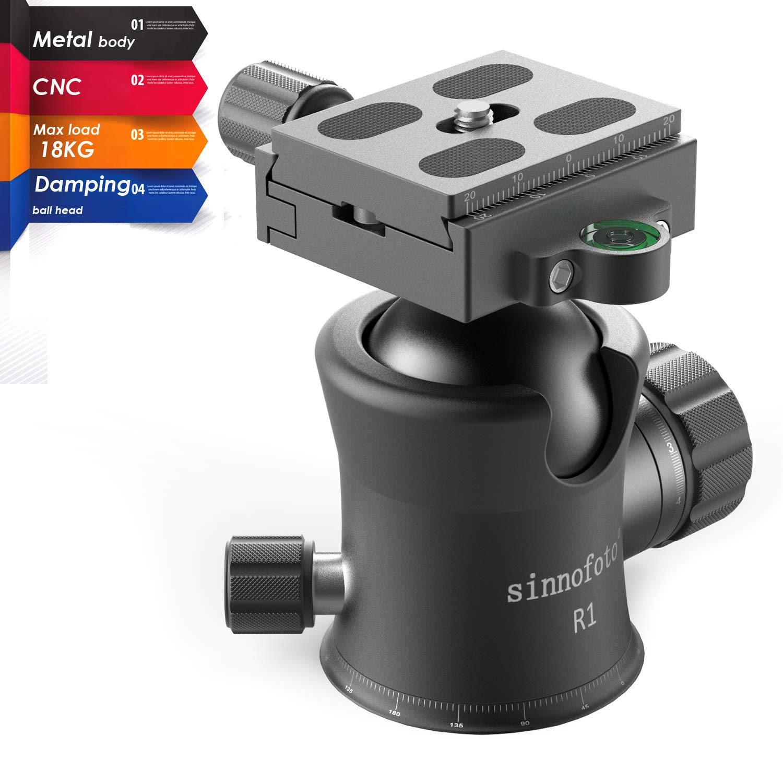 Sinnofoto R1 39.7lbs CNC Professional Premium Metal Damping Camera Tripod Ball Heads with 1/4 Quick Shoe Plate Includes Tri-Bubble Levels Ballhead for Tripod,Monopod,Slider,DSLR Camera,Camcorder by sinnofoto