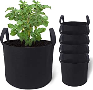 5-Pack (7 Gallon) Grow Bags Heavy Duty Plant Grow Bags, Aeration Fabric Grow Bags for Vegetables, Growing Bags with Handle, Garden Bags to Grow Vegetables, Fabric Planters Grow Bags