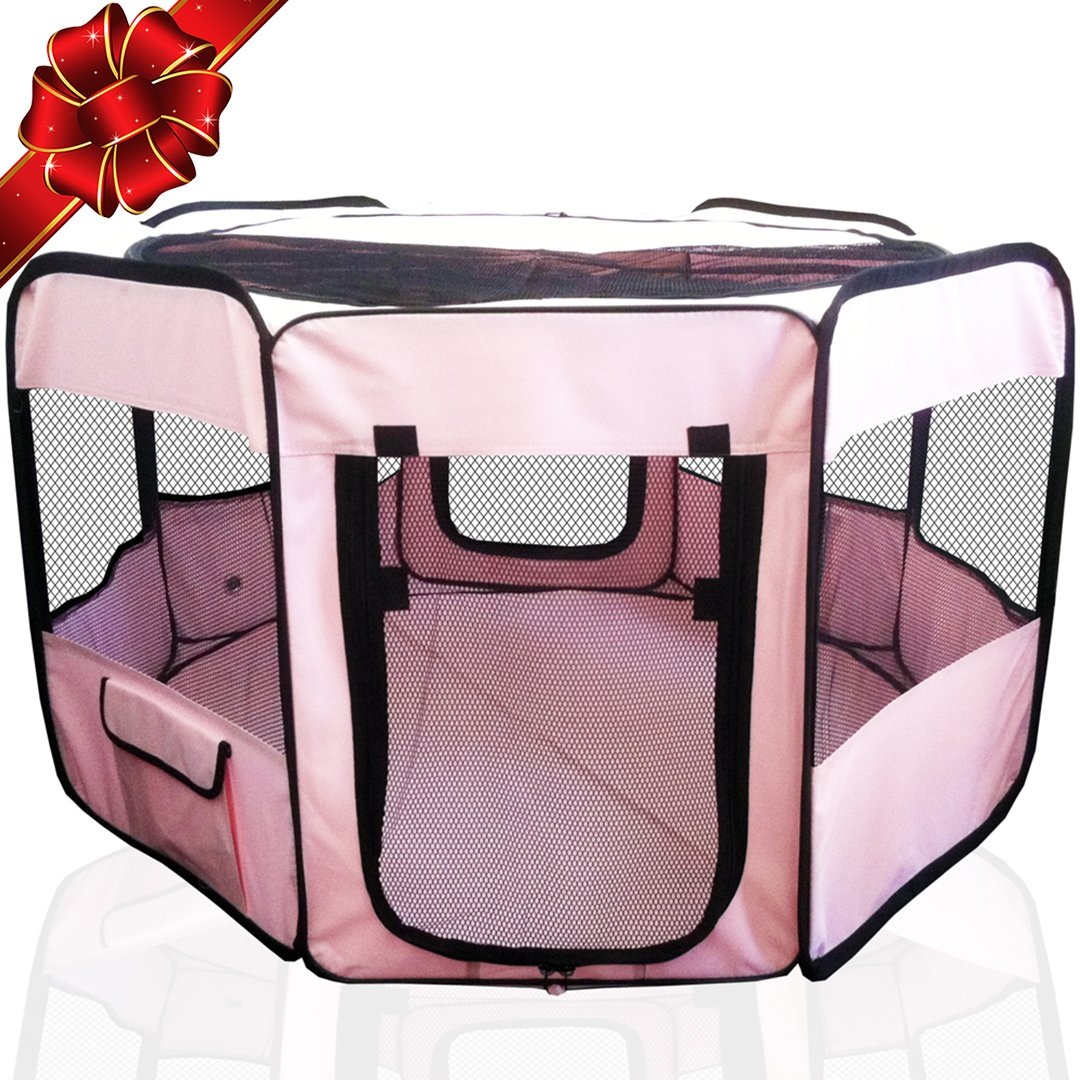 ToysOpoly Pet Playpen 45'' Exercise Puppy Pen Kennel - Best for Dogs and Cats Safe in Their Play-pen While Protecting The Little Kids - Folding Design Easy Storage (Pink)