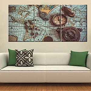 3 Panel Canvas Wall Art Historical World Map Pictures for Living Room Teal Blue Artwork Premium Quality Prints Paintings Giclee House Modern Decor Wooden Framed Stretched Ready to Hang(60''Wx28'')