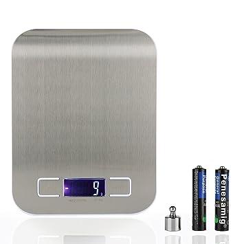 Báscula de cocina digital, báscula de cocina acero inoxidable pantalla LCD y función de tara