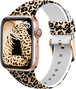 TSAAGAN Silicone Pattern Printed Band Compatible for Apple Watch Band 38mm 42mm 40mm 44mm, Floral Soft Sport Replacement Strap Wristband for iWatch Series 6/5/4/3/2/1 (Leopard, 38mm/40mm)