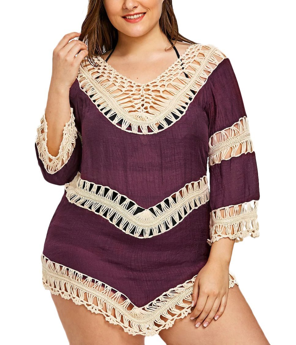 Fendxxxl Womens Asymmetric Hem Swimwear Bikini Beach wear Swimsuit Crochet Casual Top F25 Purple