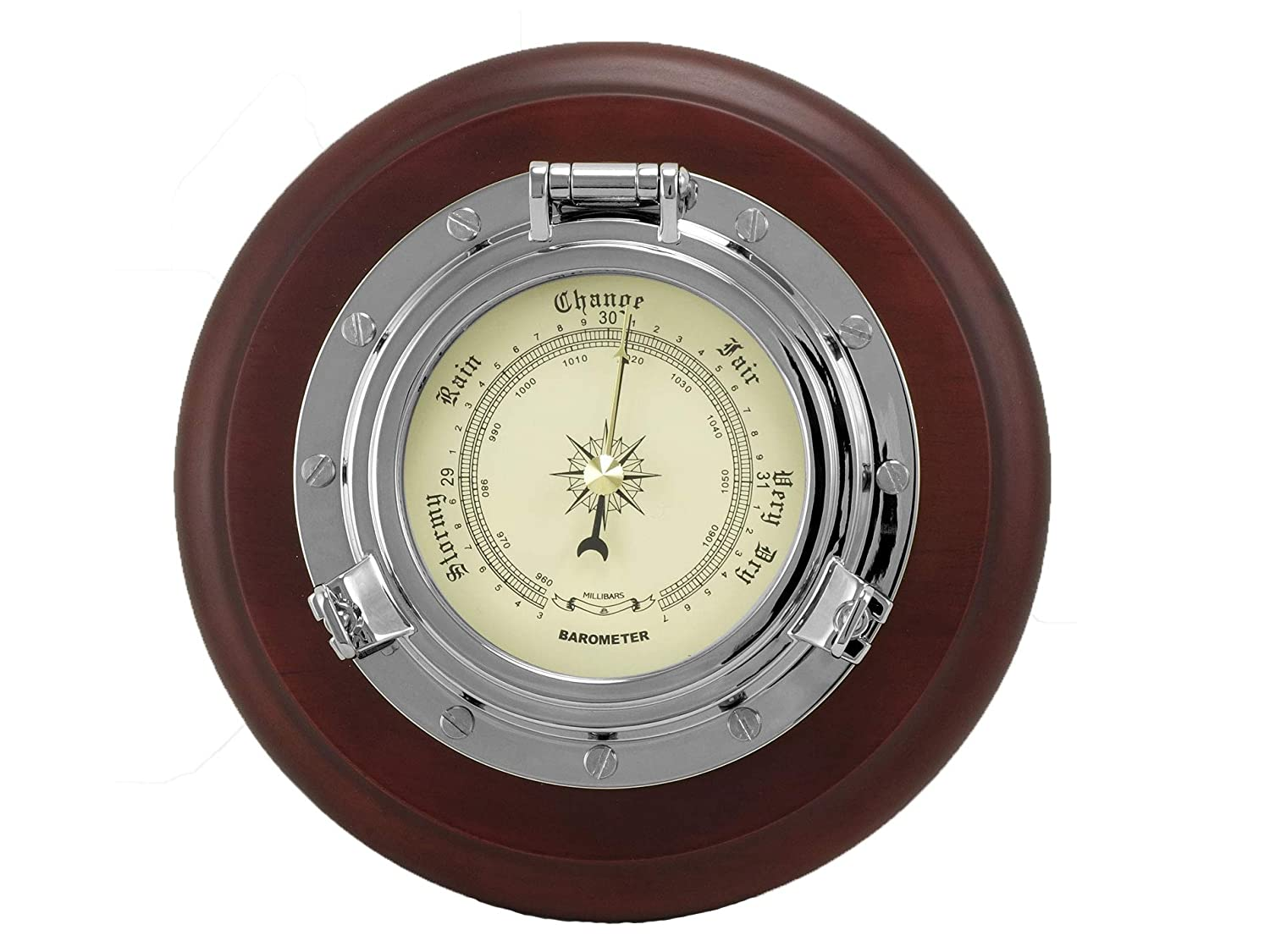 Nautical Porthole Chrome Precision Barometer with solid wood base quartz clock movement - Matt finish - Five Oceans BC-3986