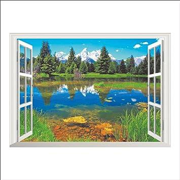 MW Natur Berge See Wald Bäume Haus 3D Szene Fenster Aufkleber Wand Poster  Vinyl Dekor Für