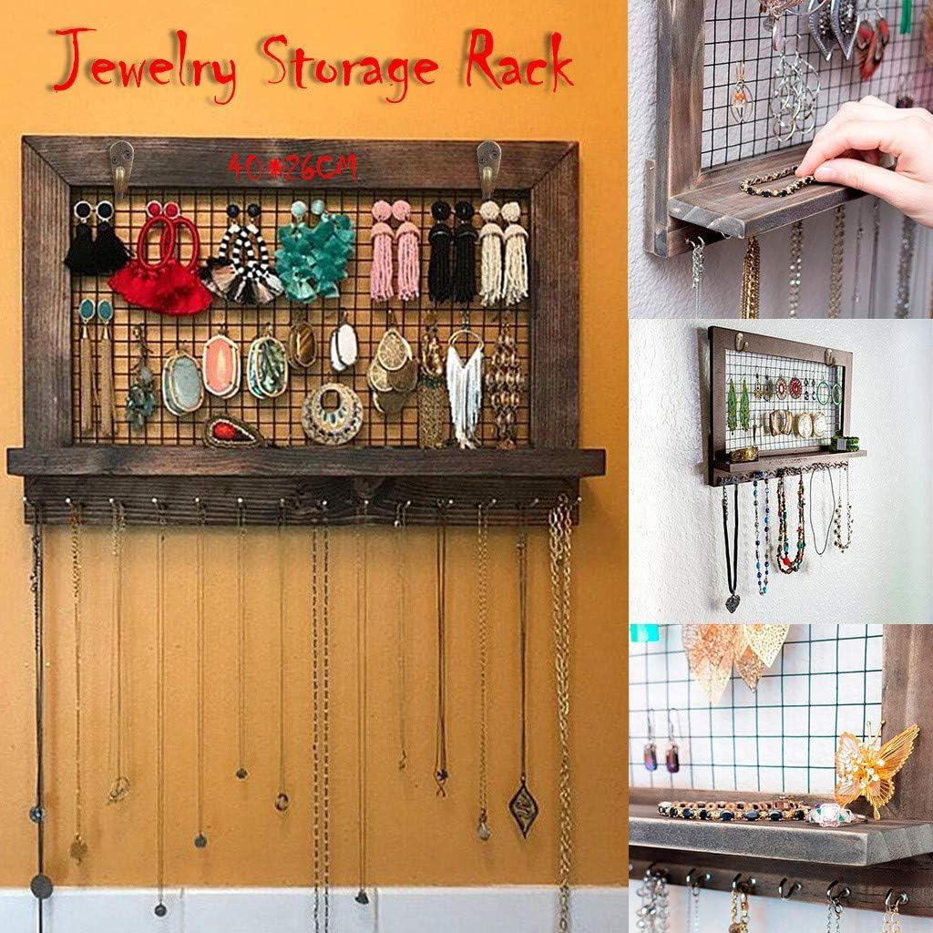 Plateau de pr/ésentation Vintage Bijoux Bracelets Support Mural en Bois avec 16 Crochets Parfait pour Colliers Boucles doreilles et Accessoires lilingfine Organiseur de Bijoux Rustique
