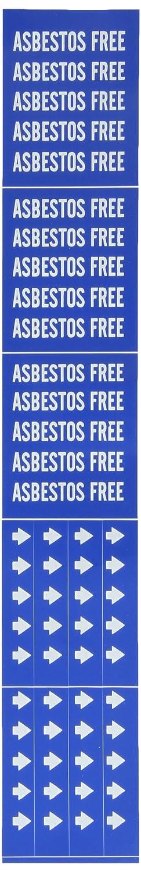 2 1//4 Height X 2 3//4 Width B-946 Brady 7017-3C Self-Sticking Vinyl Pipe Marker White On Blue Pressure Sensitive Vinyl Legend Asbestos Free