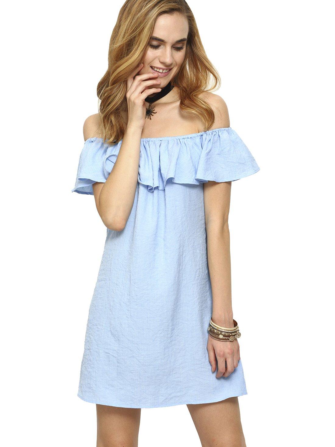 Romwe Women's Off Shoulder Ruffles Mini Dress Blue S