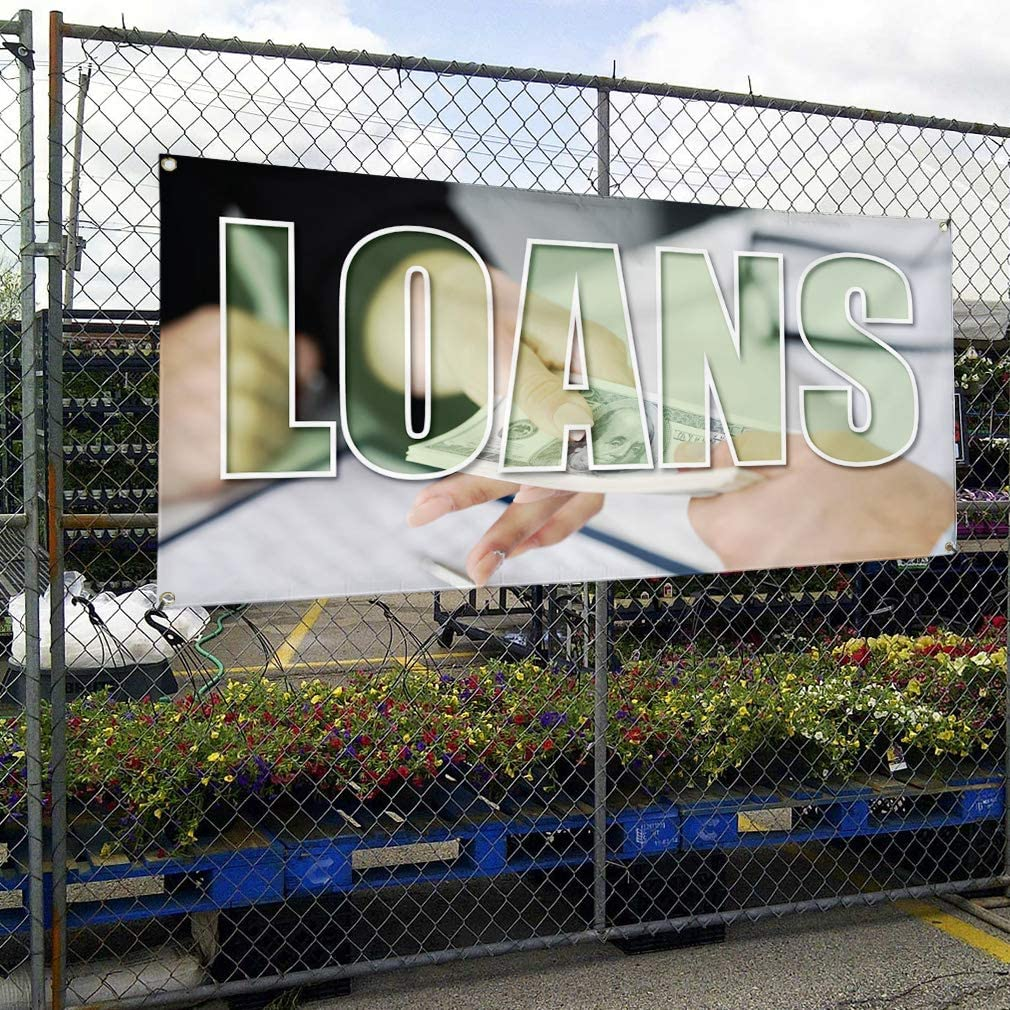 Vinyl Banner Sign Loans #1 Business Credits Outdoor Marketing Advertising Green 28inx70in 4 Grommets Set of 2 Multiple Sizes Available