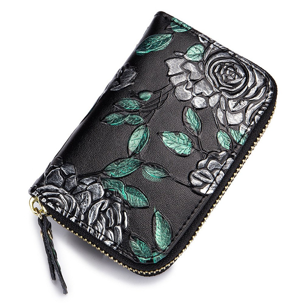 Genuine Leather RFID Card Holder Rose Embossed Female Minimalist Purse
