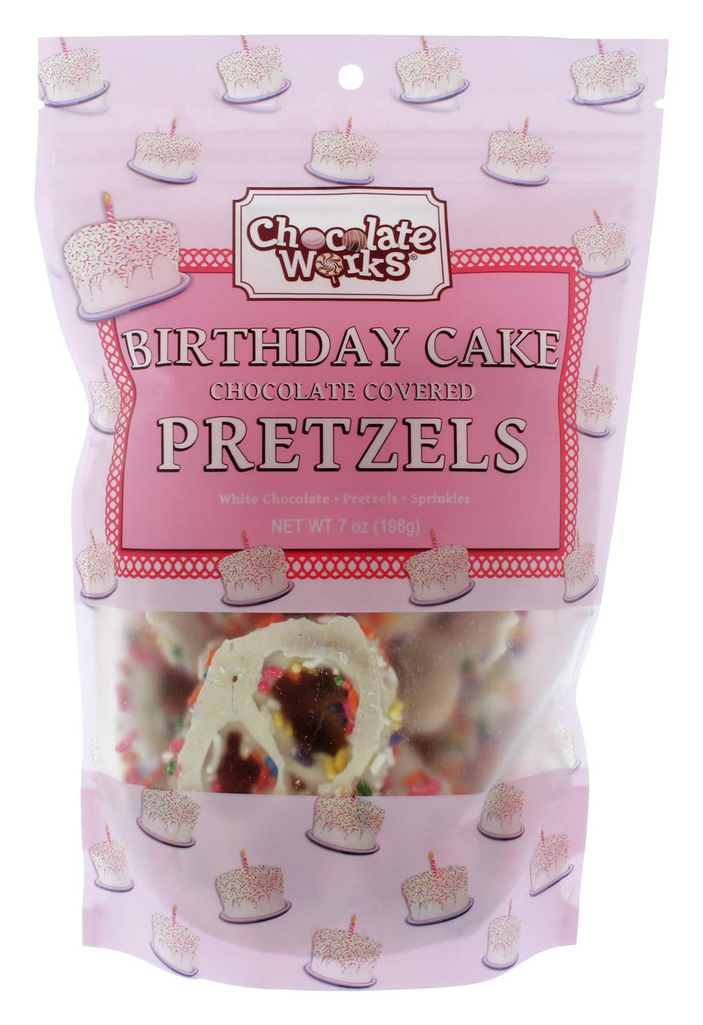 Birthday Cake Chocolate Covered Pretzel Pouches,12 Pack by Chocolate Works