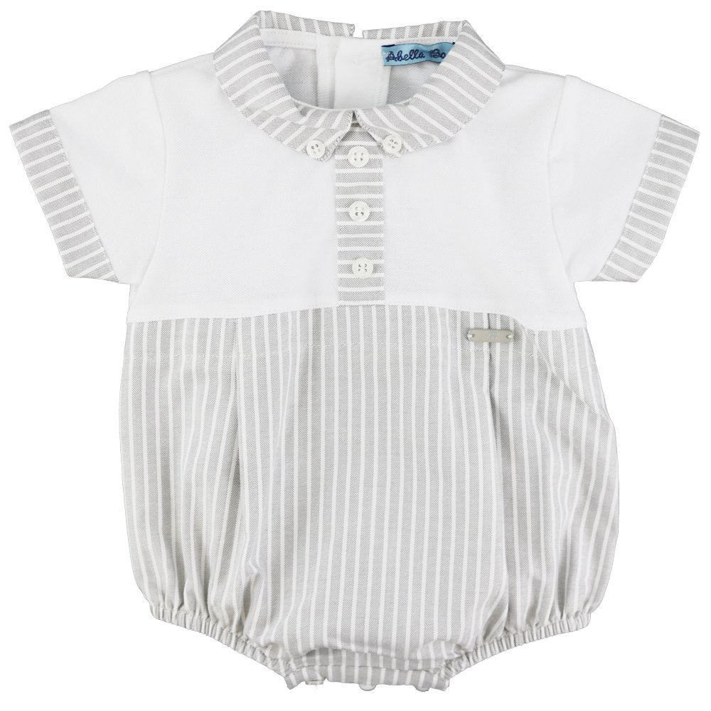43a3d726c Abella Baby Boys Cotton Romper and Hat Set In White and Grey Stripe ...