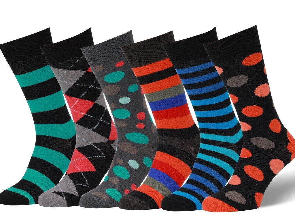 Easton Marlowe Men's Colorful Patterned Dress Socks - 6pk #16, neutral colors - 43-46 EU shoe size