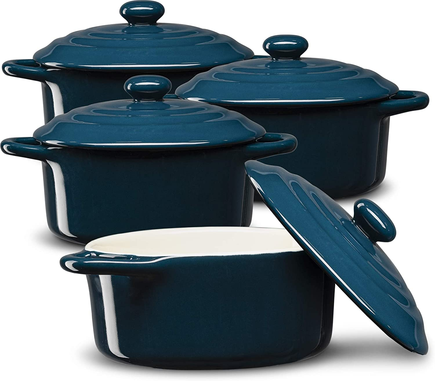 Mini Cocotte, Casserole Dish, Dutch Oven, Ceramic Make, Easy to Lift Lid, Set of 4, (Navy Blue)
