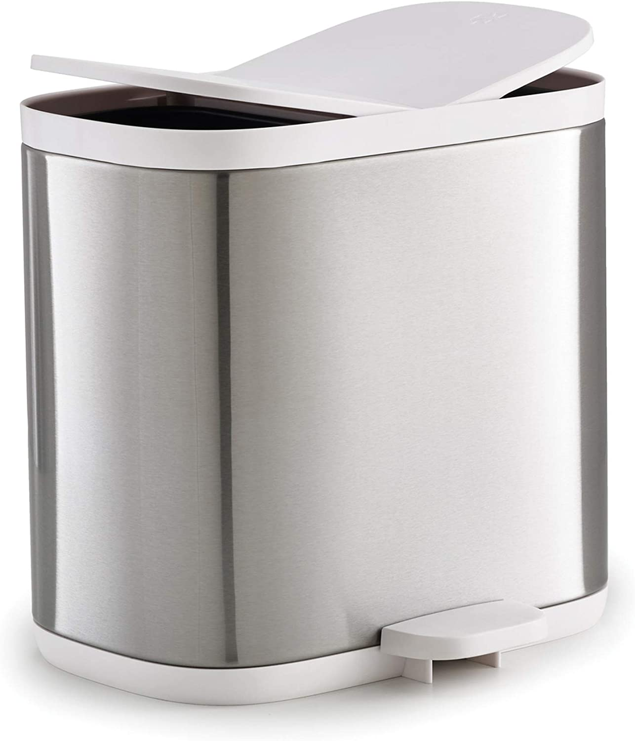 Joseph Joseph Split Step Trash Can Recycle Bin Dual Compartments Removable Buckets, 1.6 Gallon/6 Liter, Stainless Steel
