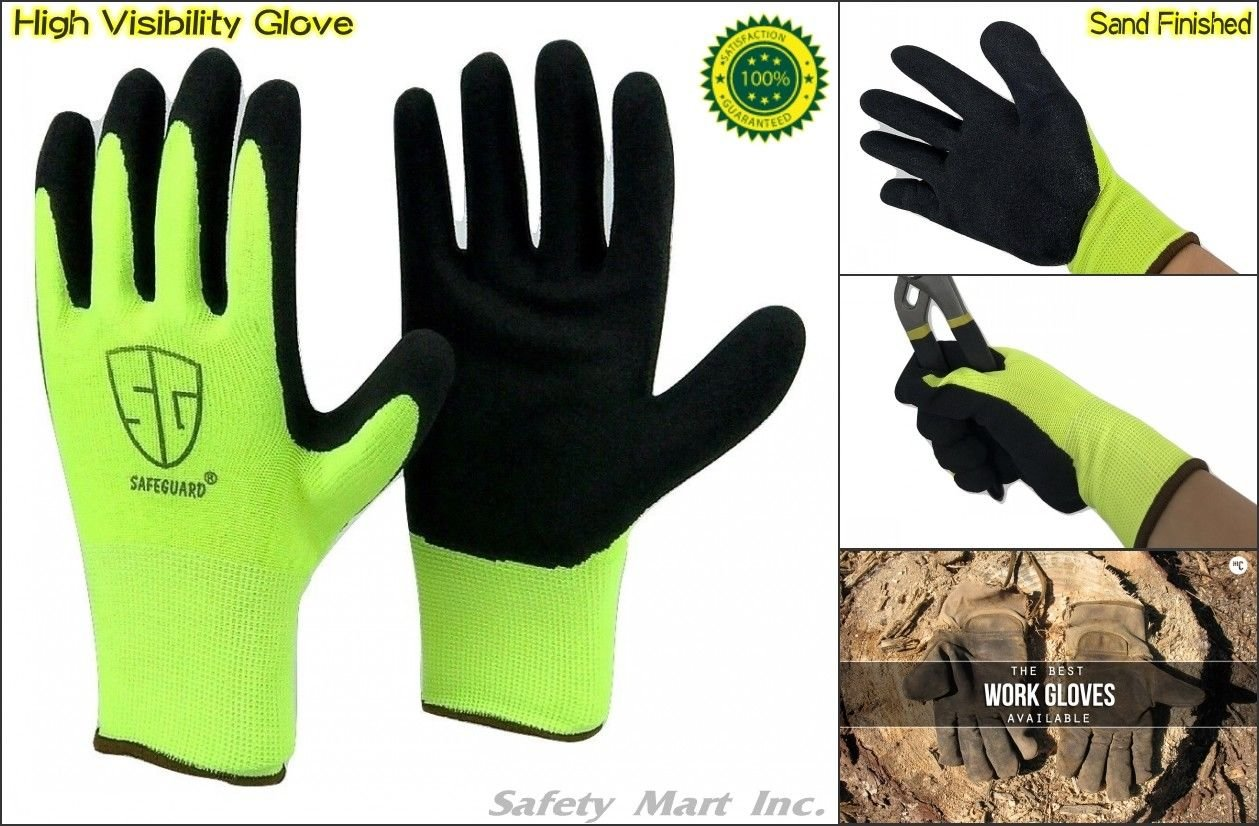 12 Pairs Sand Finish Black Rubber High visibility Nylon Top Sale Grip Work Glove (Medium) by Safeguard