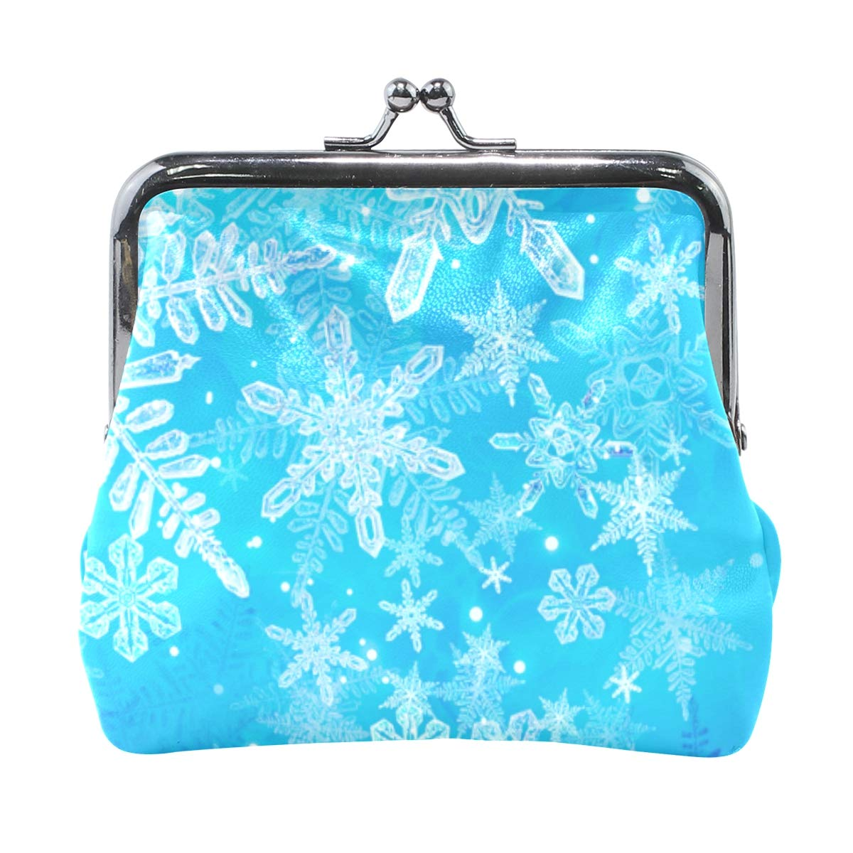 Christmas 3D Ice Snowflake Coin Purse Buckle Vintage PU Pouch Kiss-lock Wallet for Women Girl