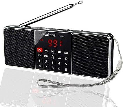 Retekess TR602 Am FM Radio Estéreo Portátil con Reproductor de MP3 Inalámbrico Altavoz Entrada AUX Soporte Tarjeta TF Unidad USB Temporizador de ...