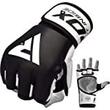 RDX MMA Gloves for Martial Arts Grappling Sparring Training, Cowhide Leather Open Palm and Wrist Strap, Padded Mitts for Muay